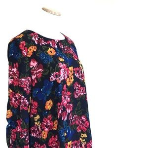 NWT Halogen Ruched Bell Sleeve Floral Swing Dress